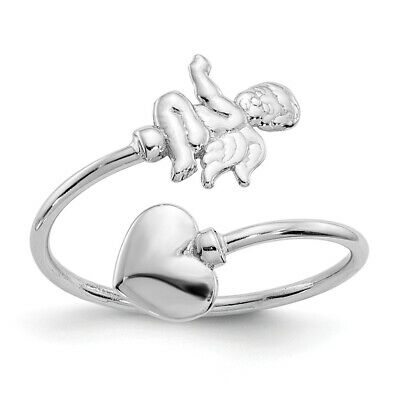 14k White Gold Cupid And Heart Adjustable Toe Ring  0.71 gr