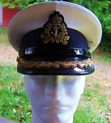 Royal Canadian Navy L/Commander's Cap Size 7,Brocade and Silver Badge. Current