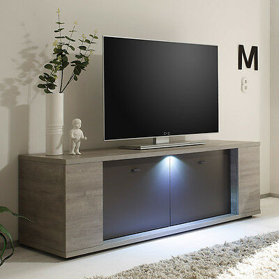 tv lowboard salinas stirling eiche schwarz wohnzimmer schrank kommode 179 cm eur 289 95. Black Bedroom Furniture Sets. Home Design Ideas