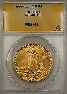 1908 No Motto $20 St. Gaudens Double Eagle Gold Coin ANACS MS-61 SB