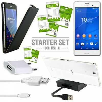 Mega accessory SET 30% save for Sony Xperia Z3 D6653 L55T Pouch Film Dock New