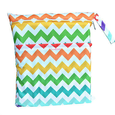 Chevron Wet Dry Bag Baby Cloth Diaper Nappy Bag Reusable With Two Zipper Pockets