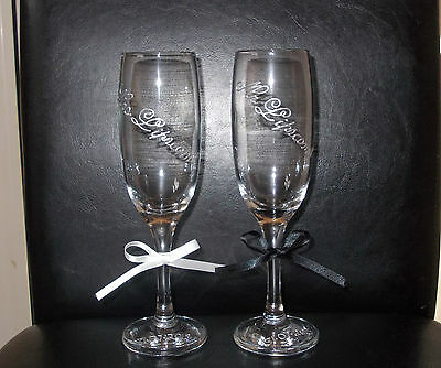 Hand Painted Set x 2 Personalised Champagne Flute  Glass Wedding,Bride Groom