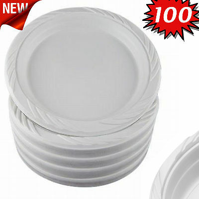 """100 White 9"""" Plastic Party Plates Disposable Dinner Wedding Catering Dishes"""