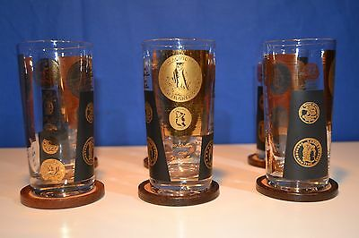 Set of 6 Vintage Numismatic Coin Glasses Black and Gold Barware Glass