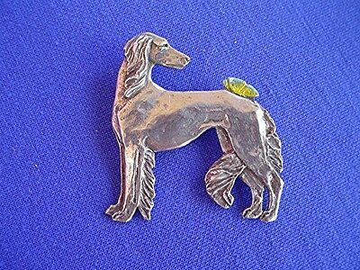 Saluki with Butterfly pin PEWTER #15R Hound DOG Jewelry by Cindy A. Conter