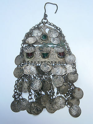 ANTIQUE RARE OLD 19th OTTOMAN ETHNO SILVER FOLK PENDANT JEWEL ENGRAVING COINS