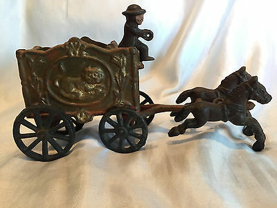 Collectible Vintage Cast Iron Toy - Horse Drawn Lion Circus Wagon With Driver