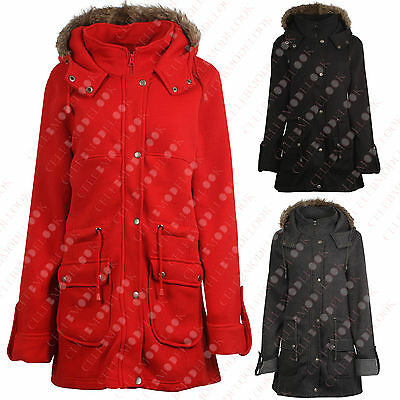 F66 New Kids Girls Fleece Parka Jacket Faux Fur Hooded Long Coat In 7-13 Years.