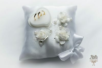 wedding ring pillow, cushion, ring holder , p24 white, 3 roses with bow, mariage