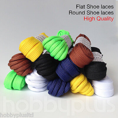 2 Pairs Round / Flat Shoe Laces Boot Shoelaces, 5mm 10mm, High Quality UK Seller