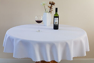 """High Quality """"WHITE""""  Linen Look Tablecloth 100%Polyester  Available 8 sizes."""