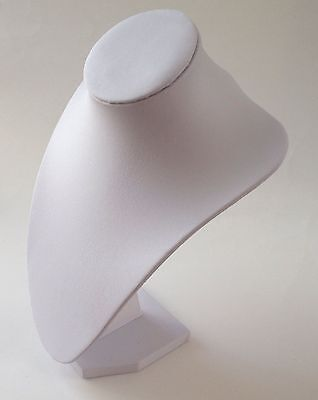 "10"" White Mannequin Necklace Jewelry Display Stand Leatherette Pendant Bust Hold"