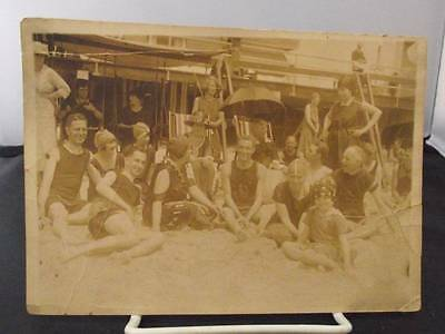 "Old 1910's Beach Photo - Men, Women and Child in Period Bathing Suits 7""x 5"" - C"