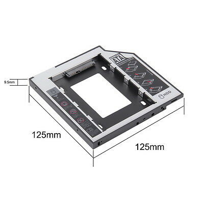 9.5mm Universal SATA 2nd HDD SSD Hard Drive Caddy for CD/DVD-ROM Optical Bay  GS