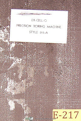 Excello 215-A, Boring Machine, Installation Operation Maintenance Manual 1943
