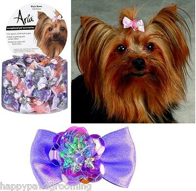 """LOT 100 pc DOG""""PIXIE""""Grooming HAIR RIBBON BOW Iridescent Sequin &Bead Center"""