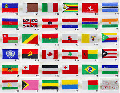 2pcs Nation Country Flag Iron ON Embroidered Cloth Patch Badge Applique 6x3.5cm