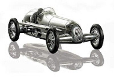 "Tether Car 1934 Mercedes Benz Silberpfeil Silver Arrow 12"" with Black Seat"