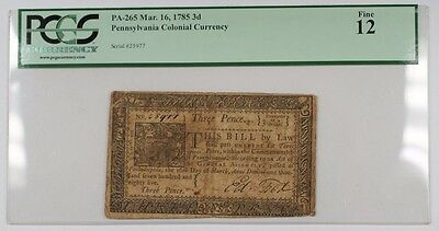 1785 Pennsylvania Colonial Currency 3 Dollar Note PA-265 PCGS F-12