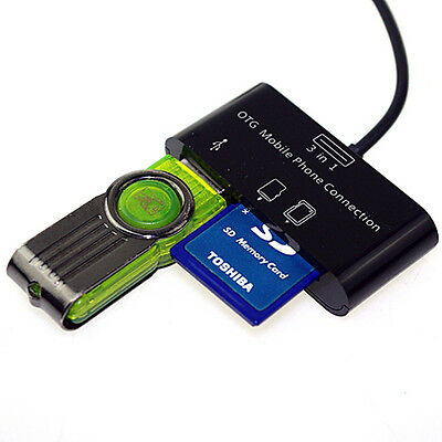 3in1 USB 2.0 SD Card Reader HUB OTG Micro 5 Pin Adapter For Tablet Smartphone