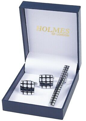 Cuff Links & Tie Clip Pin Mens Silver Black Shirt Wedding Party Bnib New Uk Ct15