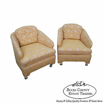 Vintage Pair of Mid Century Modern Barrel Back Club Lounge Chairs