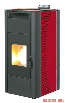 TERMOSTUFA A PELLET STUFA IDRO KING 24 KW BORDEAUX MADE IN ITALY con telecomando