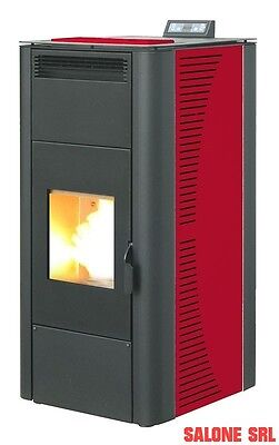 Termostufa A Pellet Stufa Idro King 15 Kw Colore Bordeaux Made In Italy