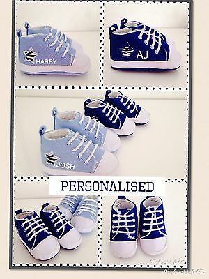 Fantastic baby boys  PERSONALISED baby shoes/trainers - ANY NAME UNIQUE GIFT