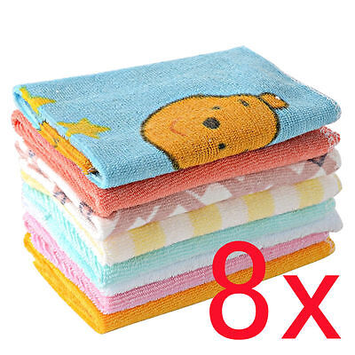 8x Baby Infant Newborn Children Bath Towels Washcloth Bathing Feeding Cloth Soft