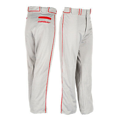 Combat Stock Adult Baseball/Softball Pant with Piping - Grey/Red - Large