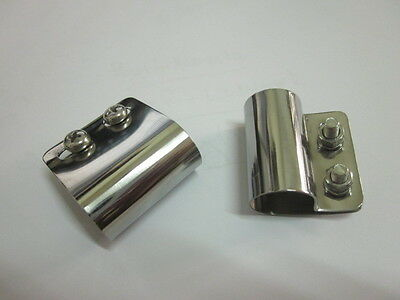 2 x Stainless Desmo style Badge Bar Clips 16mm for Renamel etc Top Quality BR16