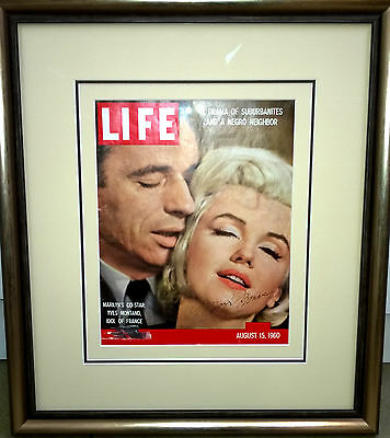 Genuine Marilyn Monroe Autograph. Signed 'Life' Magazine from 1960. Framed.