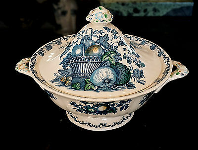 Masons Fruit Basket Blue Vegetable Tureen