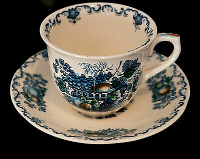 Masons Fruit Basket Blue Coffee Cup With Saucer