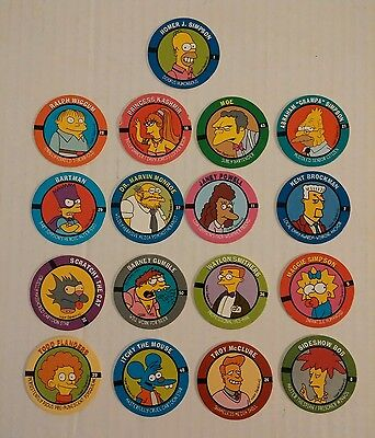 1994 The Simpsons Collectable Skybox Skycaps Pogs Lot of 17