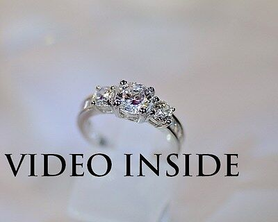 2.8CT 3 Stones Ring Engagement Diamond Ring Platinum F.22KT.S.Silver ITALY