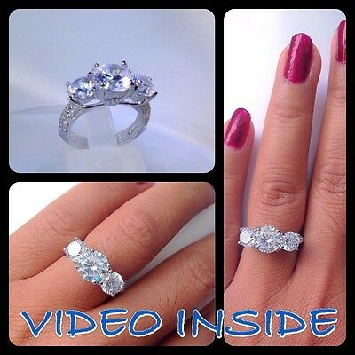 3 Brilliants Created Diamond Engagement Ring Real 925 Sterling Silver