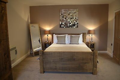 New Solid Wood Rustic Chunky Double, Kingsize, Super-Kingsize Wooden Plank Bed