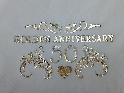 15 X Golden 50Th Wedding Anniversary Quality White 3Ply Dinner Napkins