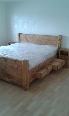 """New Solid Wood Rustic Chunky 4'6"""", 5',6' Plank Bed With Built-In Underbed Drawer"""