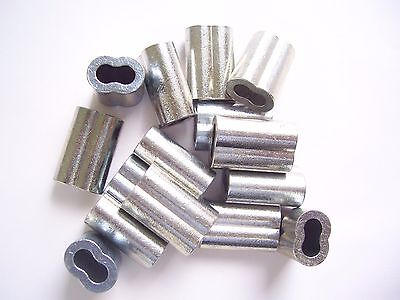 """25 Zinc Plated Copper Swage Crimp Sleeves for Wire Rope Cable, 1/8"""""""
