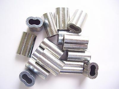 """10 Zinc Plated Copper Swage Crimp Sleeves for Wire Rope Cable, 3/16"""" Made in USA"""