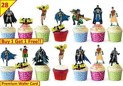 56 BATMAN ROBIN Cup Cake Fairy Edible Wafer Rice Toppers Birthday Party STAND UP