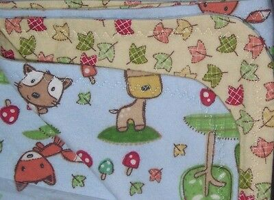 *forest Friends*fox*raccoon*deer*leaves*toddler*flannel Blanket*new*handmade*