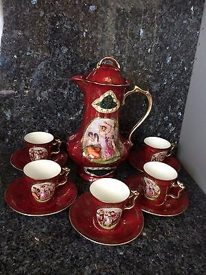 Stunning Antique Hand Painted 11-pc Porcelain Royal Vienna Tea Set Beehive Mark