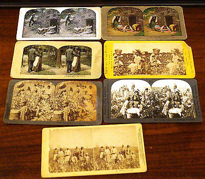 Antique Rare Black Americana & Racist Stereoview Set of 7 Cotton Picking, Others