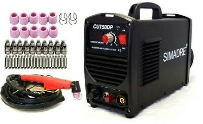 "Simadre Power Pilot Arc 50Amp Plasma Cutter 50 Cons 110/220V Easy 1/2"" Clean Cut"