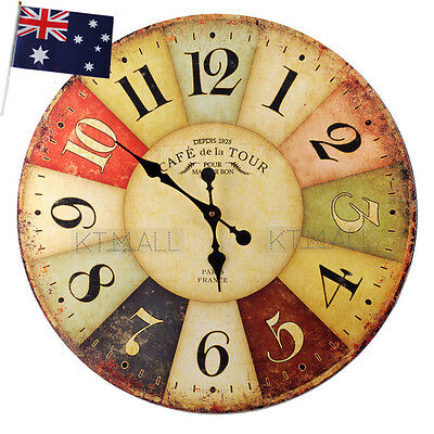 New Large Round 60cm Timber Vintage Industrial Grand Hotel Wall Clock AU